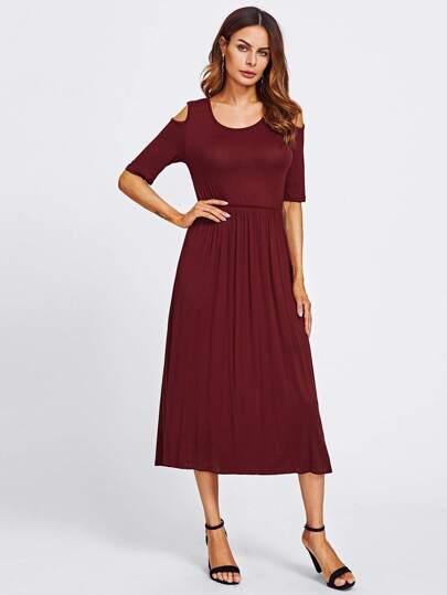 Open Shoulder Crinkle Dress