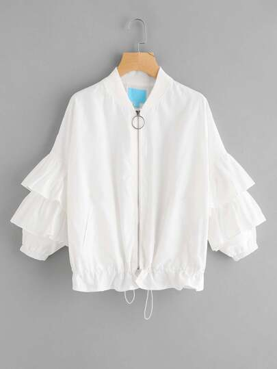 Layered Ruffle Sleeve Drawstring Hem Jacket