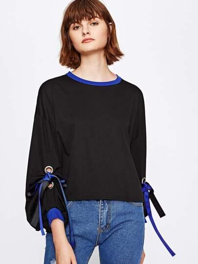 Contrast Trim Grommet Ribbon Tie Sweatshirt