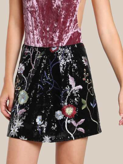 Floral Embroidered Sequin Skirt BLACK