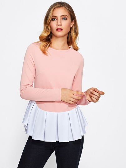 Contrast Curved Pleated Hem Top