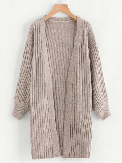 Drop Shoulder Slub Sweater Coat