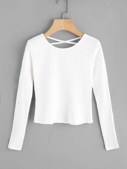 Suéter de canalé de espalda con tiras cruzadas