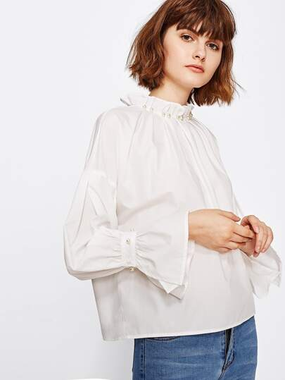 Pearl Beading Trumpet Sleeve Blouse