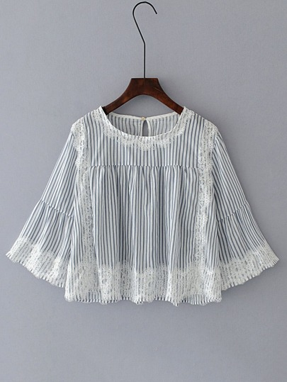 Bell Sleeve Contrast Lace Vertical Striped Blouse