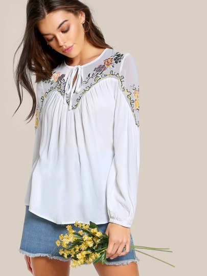Mesh Cut Out Floral Embroidered Top WHITE