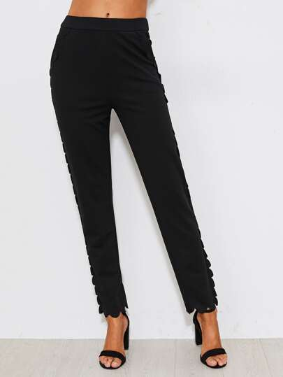 Scallop Trim Tailored Pants