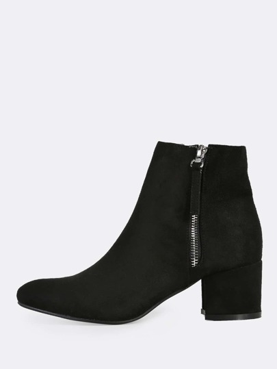 Faux Suede Point Toe Ankle Boots BLACK