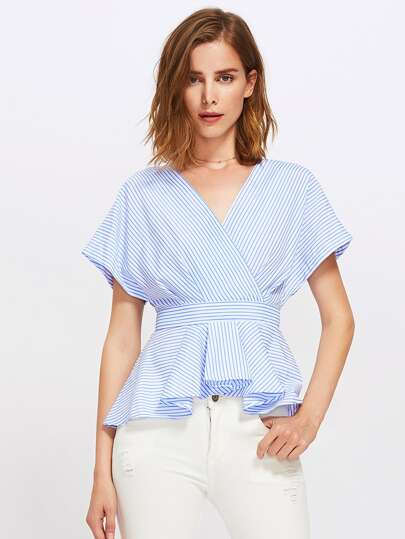 Box Pleated Surplice Wrap Pinstripe Peplum Top