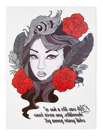 Pegatinas de tatuaje con belleza y flor