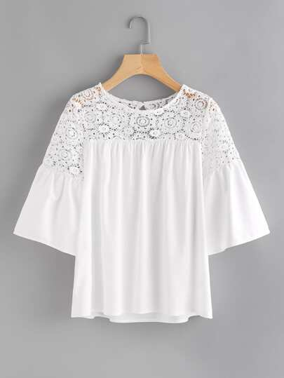 Hollow Out Crochet Panel Keyhole Back Blouse