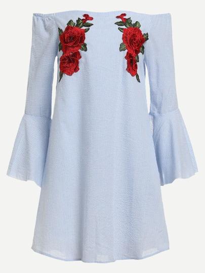 Bardot Kleid mit 3D Blumen Flicken und Flötehülsen