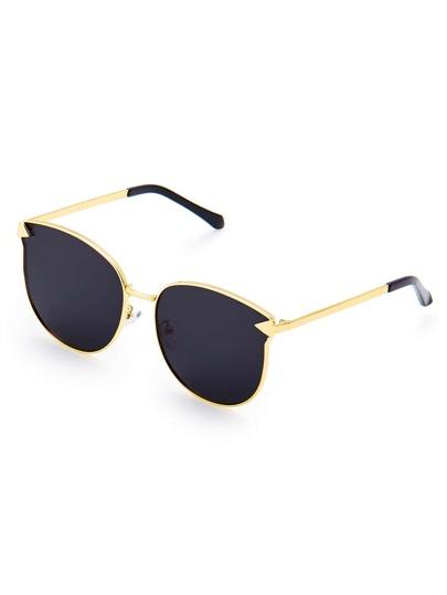 Metal Frame Flat Lens Sunglasses