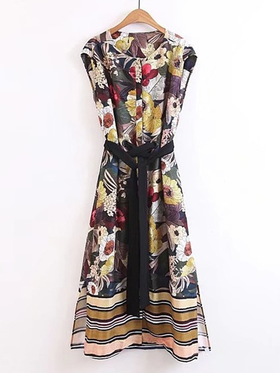 Flower Print Eyelet Tie Waist Split Side Dress