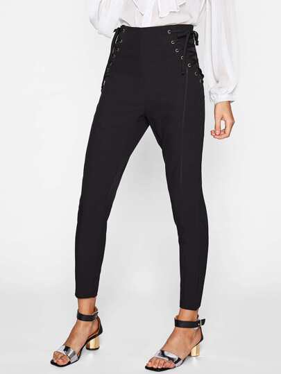 Grommet Lace Up Side Tailored Pants