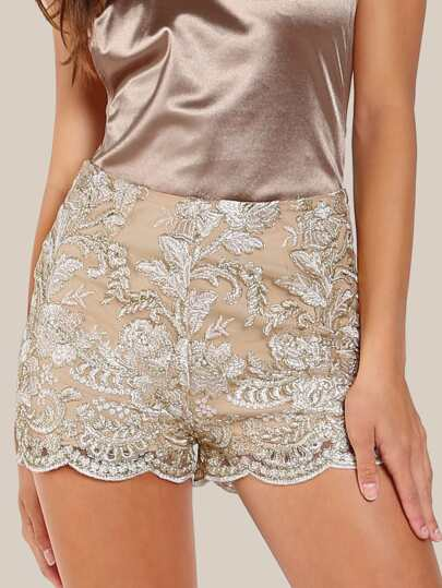 Floral Stitched Mesh Overlay Shorts BEIGE