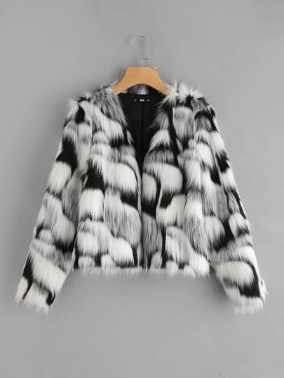 Two Tone Faux Fur Open Front Coat