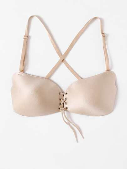 Lace Up Bra With Detachable Strap