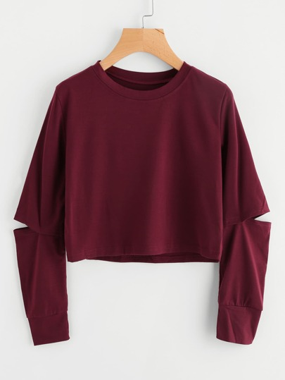 Cut Out Sleeve Crop Sweatshirt