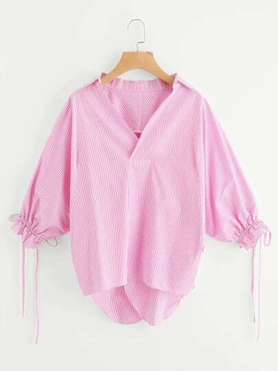 Drawstring Lantern Sleeve Overlap Back Blouse