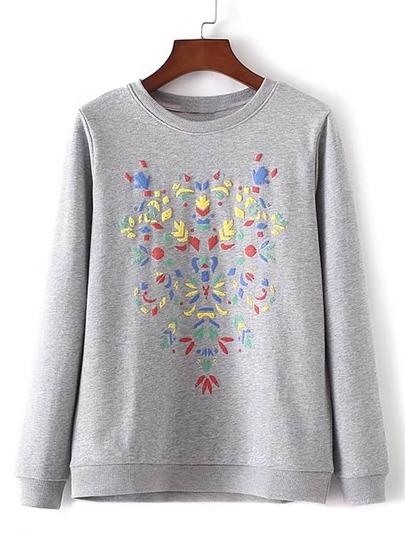 Round Neck Printed Pullover Sweatshirt