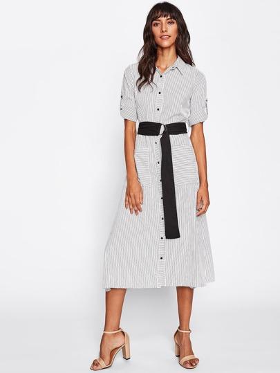 Bluse Kleid mit gerollten Ärmeln, Nadelstreifen und Gürtel
