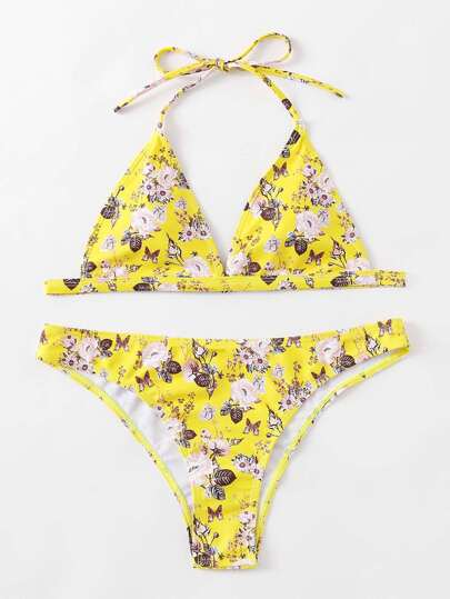 Calico Print Triangle Bikini Set