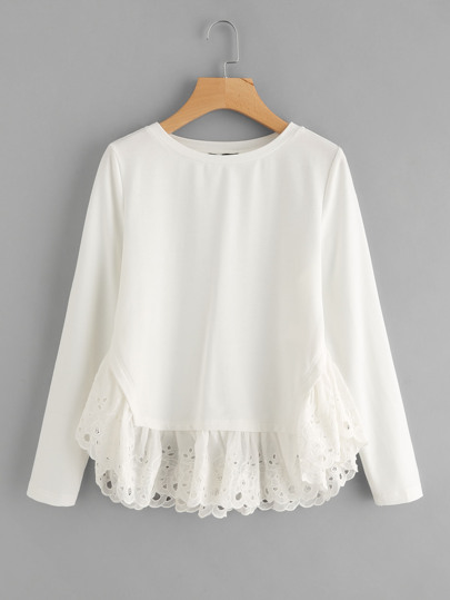 Eyelet Embroidered Ruffle Trim Sweatshirt