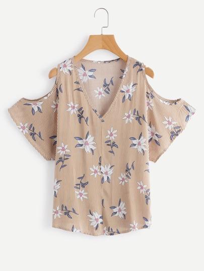 V Neckline Open Shoulder Vertical Striped Florals Top