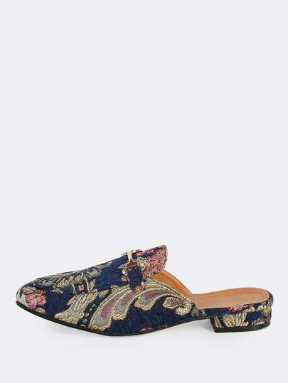 Embroidered Front Buckle Loafer Slides NAVY