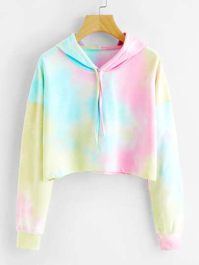 Tie Dye Drop Shoulder Crop Hoodie