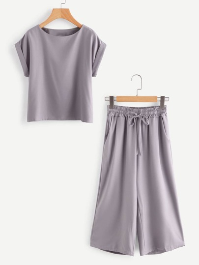 Rolled Up Sleeve Top And Drawstring Waist Pants