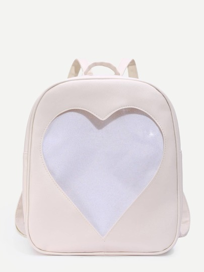 Glitter Heart Pattern PU Backpack