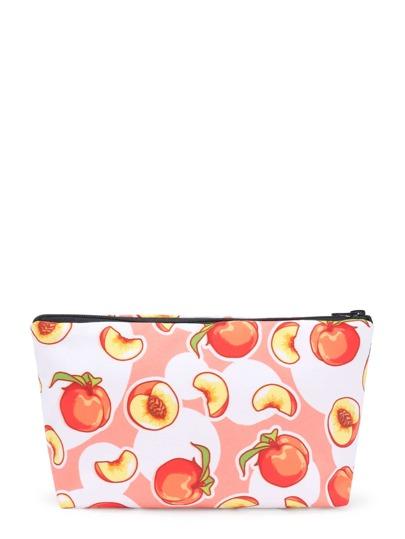 Peach Print Cosmetic Pouch