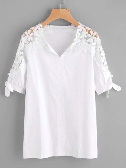 Hollow Out Crochet Panel Tie Cuff Blouse