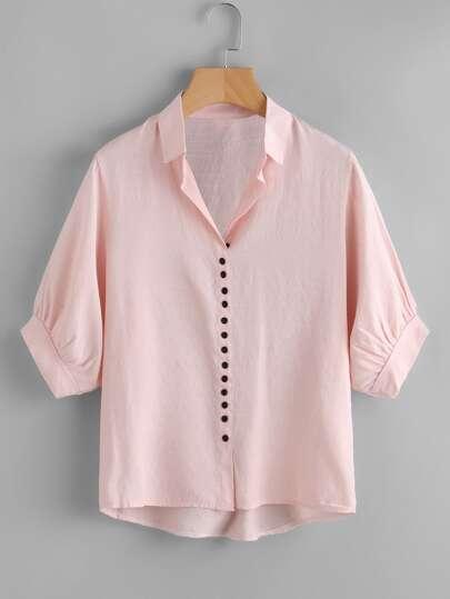 Lantern Sleeve Dip Hem Shirt