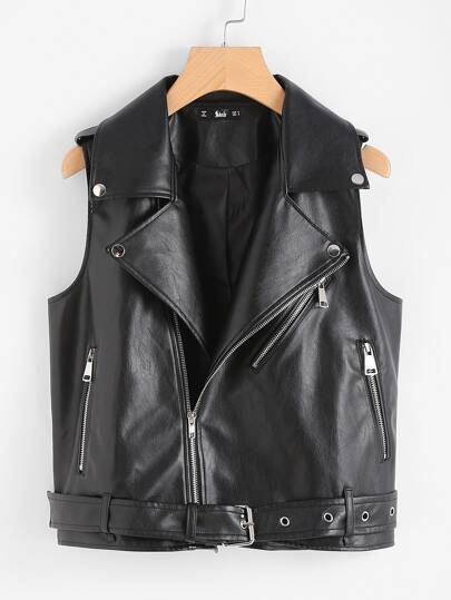 Belted Hem Faux Leather Sleeveless Biker Jacket