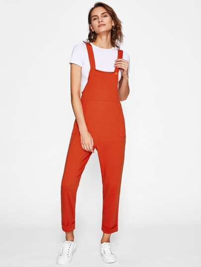 Pocket Side Cuffed Overall Pants