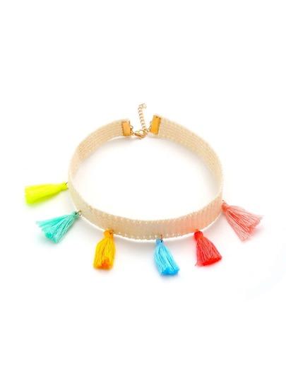 Mini Tassel Decorated Choker Necklace