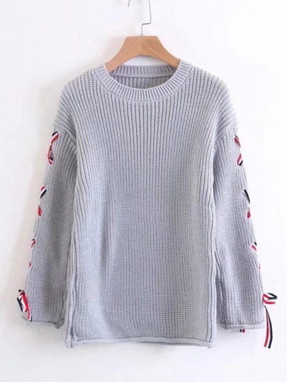 Lace Up Sleeve Jumper Sweater