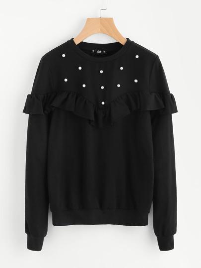 Sweat-shirt à volants avec garniture de perle