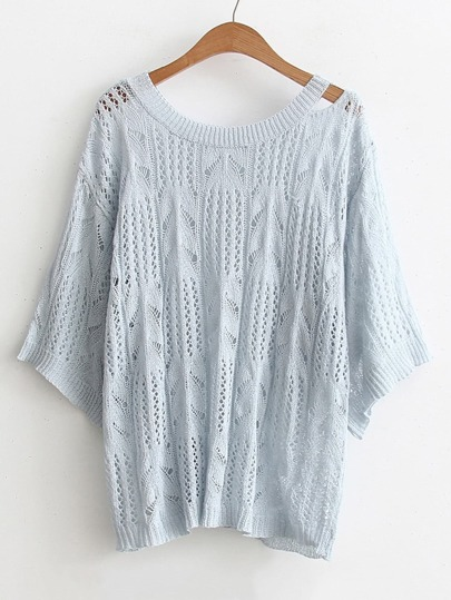 Cut Out Shoulder Hollow Out Knitwear