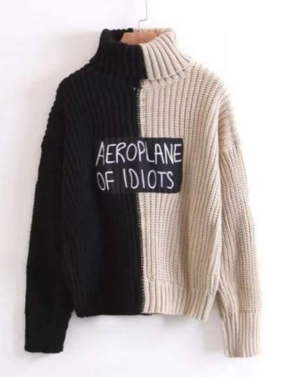 Slogan Patch Two Tone Turtleneck Sweater
