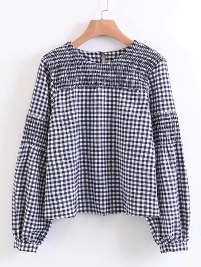 Shirred Detail Gingham Blouse