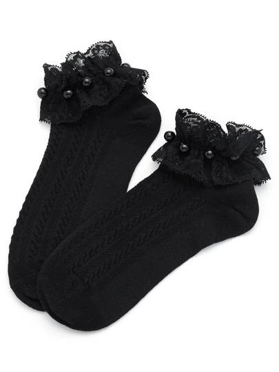 Calcetines con ribete de encaje con detalle de perla de imitación