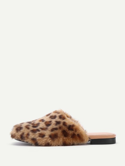 Leopard Faux Fur Overlay Flat Slippers