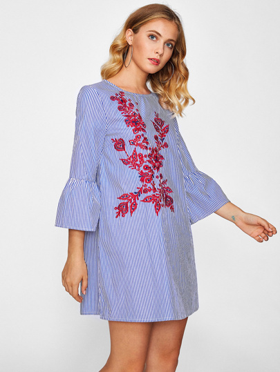 Fluted Sleeve Vine Embroidered Pinstripe Dress