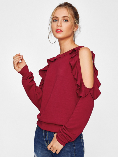 Open Shoulder Ruffle Trim Sweatshirt