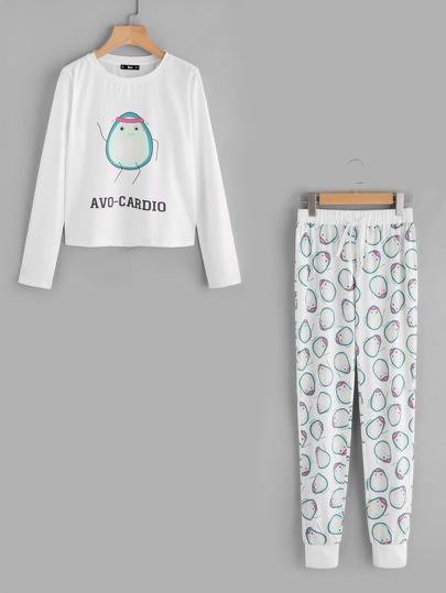 Avocado Print Tee And Drawstring Sweatpants Pajama Set