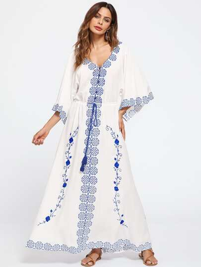 Flower Embroidered Tasseled Tie Waist Kimono Sleeve Dress